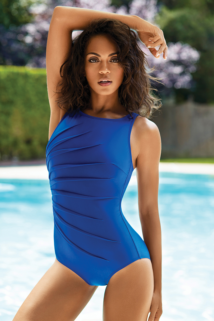 Pinched seam detail flows over the front of a brilliant royal blue high-neck maillot like rays from the sun from Active Spirit.