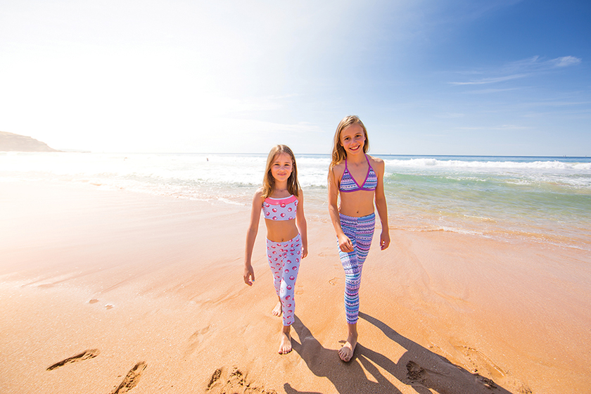 Platypus Australia_NEW STYLE leggings in Seashells & Aztec front